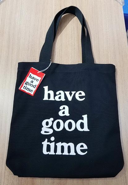🇰🇷正韓- have a good time 文青帆布包 帆布提袋 帆布包 購物袋(長版)-黑白色 H1531