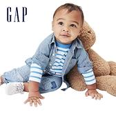 Gap嬰兒 純棉青年布紐扣貼袋襯衫 670667-水洗藍