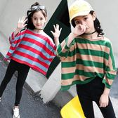 女童秋裝長袖兒童條紋衫純棉正韓蝙蝠衫大童運動孩子上衣 森雅誠品