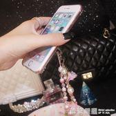 韓國手工編織奢華水鑚花朵蘋果8手機錬短款腕帶相機U盤鑰匙掛繩女  依夏嚴選
