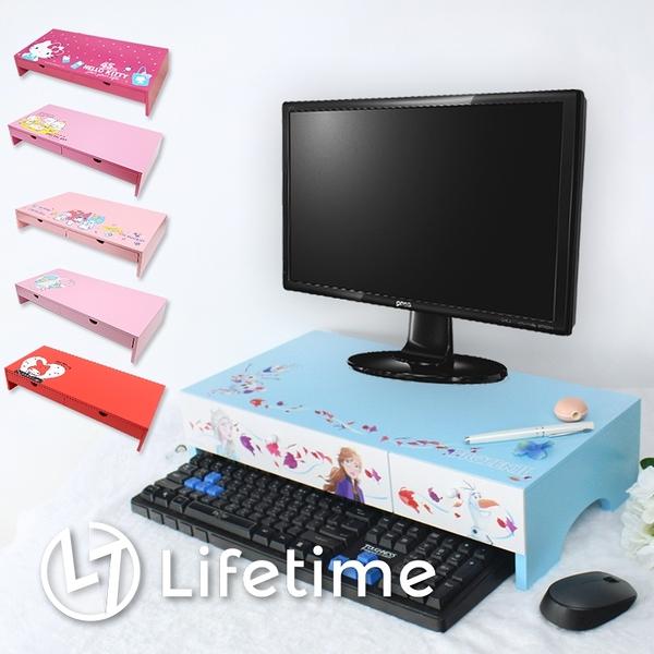 ﹝卡通收納鍵盤架﹞正版 電腦螢幕架 桌上型收納櫃 迪士尼 三麗鷗 凱蒂貓〖LifeTime一生流行館〗