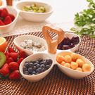 水果盤創意陶瓷分格水果盤竹木把家用干果盤...