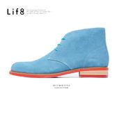 Formal 反毛皮 繽紛色系 高筒紳士短靴-水藍【09683】