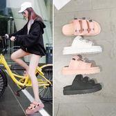 雙十一返場促銷2018新款韓版魔術貼拖鞋女夏時尚外穿百搭松糕厚底一字沙灘涼拖鞋