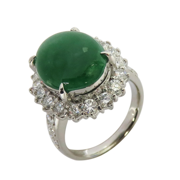 綠翡翠鑲1.68ct鑽石鉑金戒指 PT900 【BRAND OFF】