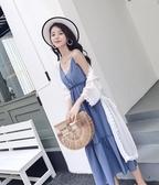 洋裝長裙女夏新款雪紡吊帶收腰顯瘦仙女套裝過膝裙子