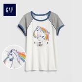 Gap女童 休閒印花圓領短袖T恤 467697-光感亮白