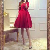 秋冬新款小紅裙優雅氣質連衣裙名媛高腰大擺裙子蓬蓬禮服裙女【限時八折】