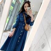 現貨L長袖洋裝牛仔裙韓版氣質收腰顯瘦鬆緊腰大擺裙長款牛仔連衣裙NE49.7322