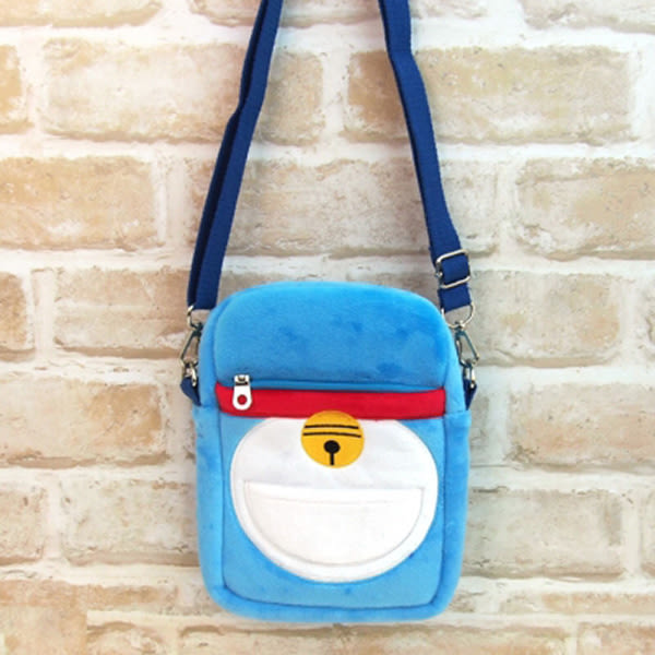 哆啦A夢 棉質斜背包 手機包 小叮噹 Doraemon 日本正品 該該貝比日本精品 ☆