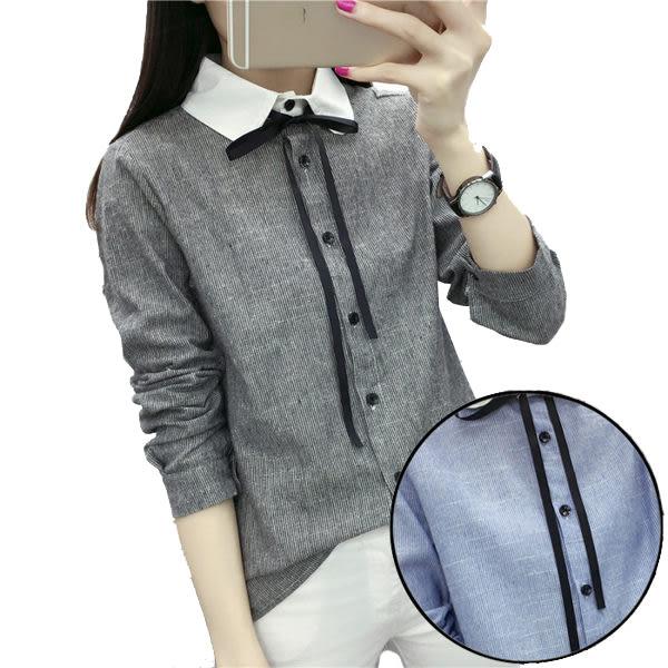 都會OL白領綁蝴蝶結長袖條紋襯衫  (藍條  黑條)二色售  (MNNO)