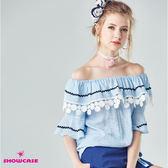 【SHOWCASE】甜美麻感蕾絲荷葉領寬袖上衣(藍)
