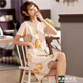 睡裙女夏季純棉短袖薄款甜美可愛學生韓版性感洋裝子寬鬆睡衣女【果果新品】