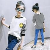女童長袖t恤洋氣春秋薄款中大童韓版寬鬆打底衫兒童春裝體恤上衣 至簡元素