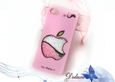 ☆Deluxe☆愛瘋時尚~iPhone5專用 蘋果咬一口造型水晶手機殼★粉