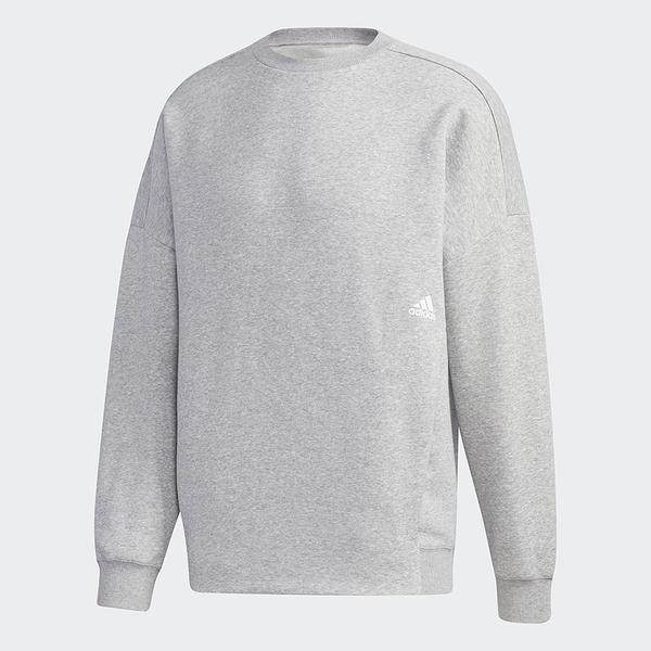 Adidas MUST HAVES WORD 男裝 長袖 T恤 寬鬆 東京街頭風圖案 棉質 灰【運動世界】GE0362