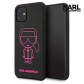 KARL LAGERFELD IKONIK桃紅框線 IPHONE 11 PRO MAX手機殼-黑