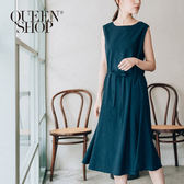 Queen Shop【01083988】無袖船領腰綁帶棉麻洋裝 兩色售*預購*