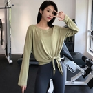 健身服女長袖寬鬆速干衣跑步T恤網紅瑜伽服跑步罩衫打結運動上衣 【草莓妞妞】