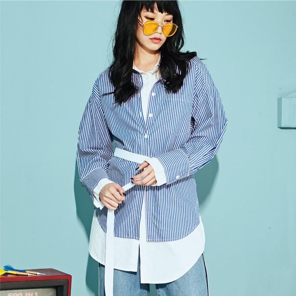 假兩件式藍白條紋長袖襯衫