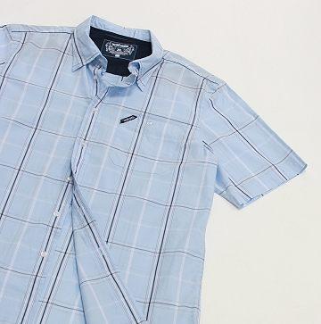 格紋襯衫 摩達客 美國進口超人氣犀牛牌【 Ecko Unltd 】Roll Call 淡藍方格短袖休閒衫