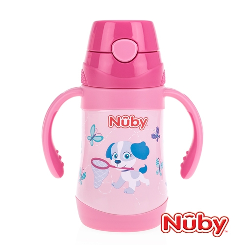 Nuby不鏽鋼真空學習杯(細吸管)-花漾犬 280ml