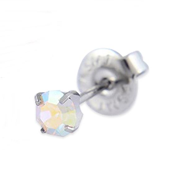 316L醫療鋼 4mm幻彩施華洛水晶元素 打耳洞穿耳洞用耳環耳釘針-銀 防抗過敏 單支販售