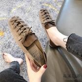 軟底豆豆鞋女方頭百搭奶奶一腳蹬樂福鞋平底單鞋【毒家貨源】