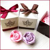 婚禮小物 楓葉玫瑰皂禮盒(皂為粉色或紫色)-精油手工玫瑰香皂/送客禮/二進/迎賓禮 幸福朵朵