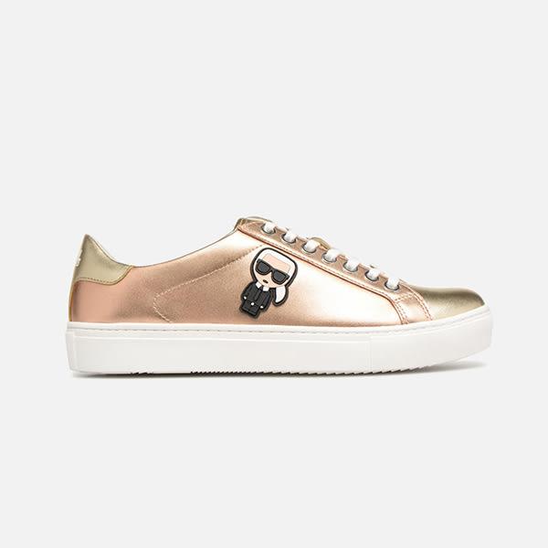 Karl Lagerfeld 卡爾 老佛爺 鞋 KUPSOLE Q版綁帶休閒鞋-玫瑰金