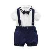 全館83折男寶寶套裝夏季哈衣0-1歲嬰兒西裝背帶褲滿月服新生兒禮服潮