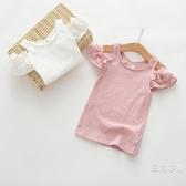 短袖女童夏裝露肩T恤韓版寶寶純棉背心上衣打底衫小童夏天公主白色粉