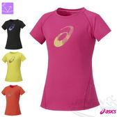 ASICS 亞瑟士 女慢跑LOGO短袖T恤(粉紅) 微腰身修飾