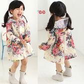 女童雨衣韓國時尚甜美花朵雨披