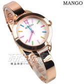 MANGO 彩色時刻極簡淑女錶 不銹鋼 纖細女腕錶 玫瑰金 MA6693L-80R