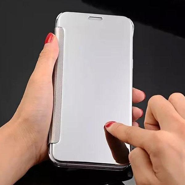 【SZ】三星S7 EDGE手機殼 一代智能鏡面皮套 S8手機皮套 S8 plus保護套 S6 EDGE S9 PLUS手機皮套