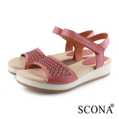 SCONA 蘇格南 真皮 舒適簡約雷射涼鞋 粉色 31076-2