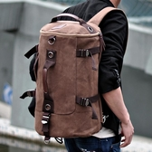 健身包斜背包男士多功能旅行包圓筒後背包手提單肩背包大容量旅游包帆布行李包