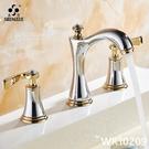 圣雪三孔面盆水龍頭分體式雙把冷熱浴室櫃衛生間歐式洗臉盆龍頭 wk10209