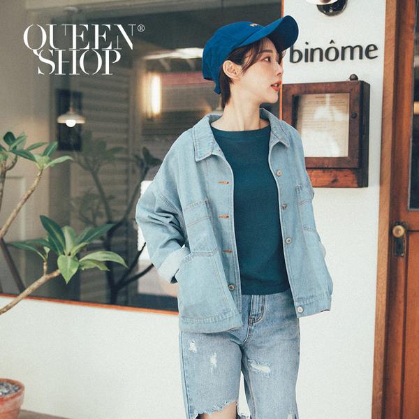 Queen Shop【02050247】基本百搭車線造型長袖牛仔外套*現+預*