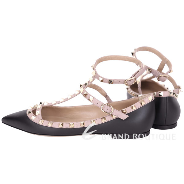 VALENTINO ROCKSTUD 小牛皮鉚釘繫帶平底芭蕾舞鞋(黑x粉色) 1620902-01