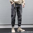 牛仔褲冬季加絨加厚黑色牛仔褲男士寬鬆大碼潮牌哈倫小腳直筒褲子秋 快速出貨