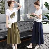 2020春裝新款時髦棉麻連身裙女裝春夏亞麻套裝裙兩件套長裙子『小淇嚴選』