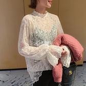 快速出貨大碼女裝春裝蕾絲衫女胖妹妹網紗透視內搭上衣200斤洋氣T恤