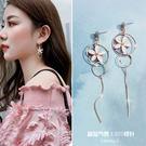 耳環耳環韓國氣質長款吊墜女簡約百搭超仙花瓣耳墜針個性流蘇耳釘