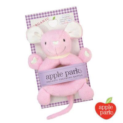 【美國 Apple Park】有機棉手搖鈴啃咬玩具- 粉紅鼠