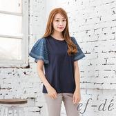 【ef-de】激安 雪紡荷葉袖拼接純棉上衣(米/藍)