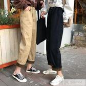 秋冬季韓版chic風高腰褲子女加厚加絨寬鬆外穿復古闊腿直筒牛仔褲 韓慕精品