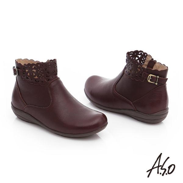 A.S.O 舒適樂活 全真皮釦飾鏤空拉鍊短靴  咖啡