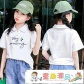 女童短袖 兒童polo衫夏裝2021新款洋氣時尚女大童半袖女孩上衣 童趣